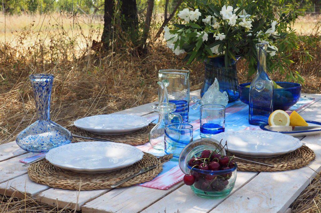 Mesa con productos lafiore en Mallorca