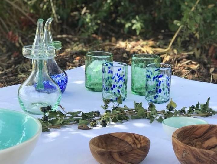 Vidrio Azules y Verdes Mediterraneo Mallorca Lafiore.com  - Über Lafiore