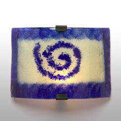 aplique de pared vidrio espiral azul