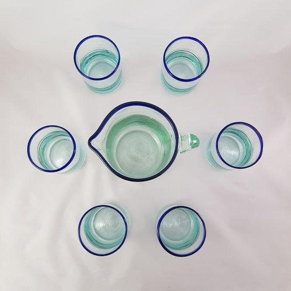 set cristaleria jarras y vasos de vidrio