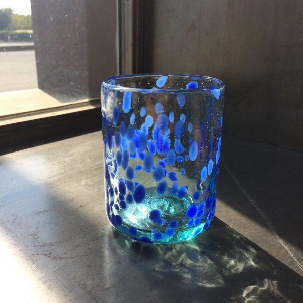 Vaso de Vidrio puntos azules mar