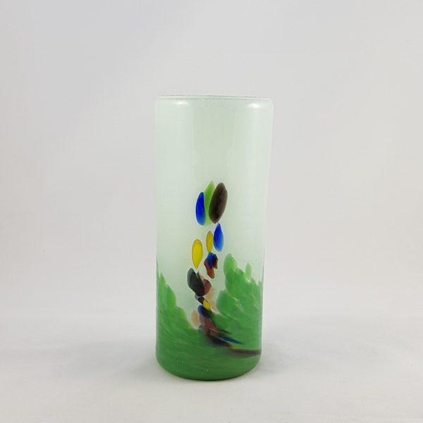 Florero Blanco Verde Vidrio Cristal