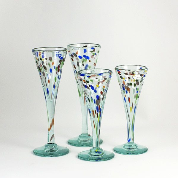 glass cups with colours