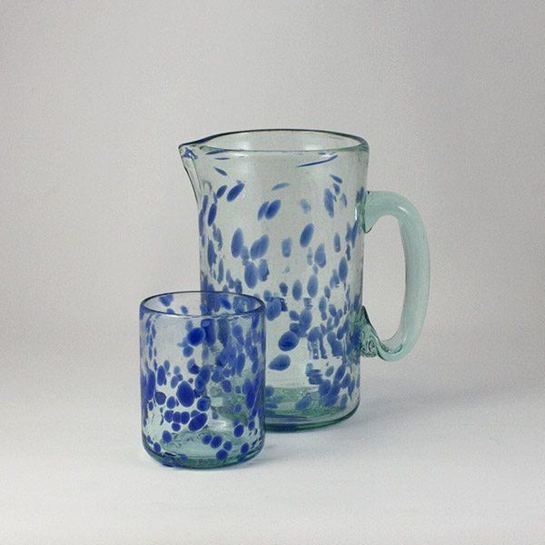 Jarra y Vaso de la Colección Mar Azul 600x600 - Lafiore Glass