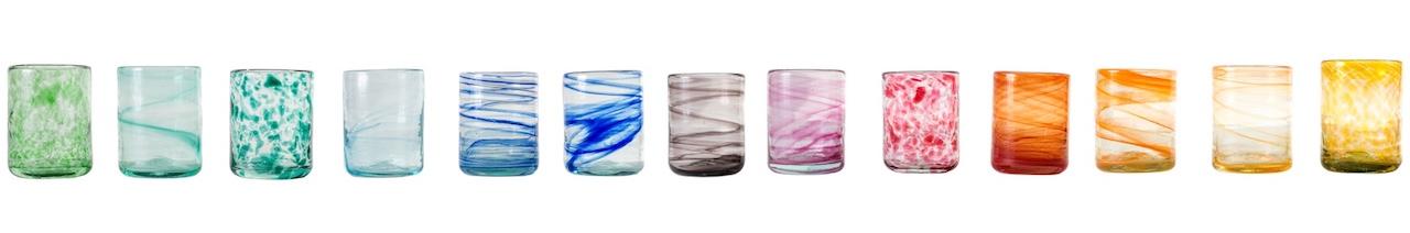 Vasos de Vidrio de Colores Lafiore