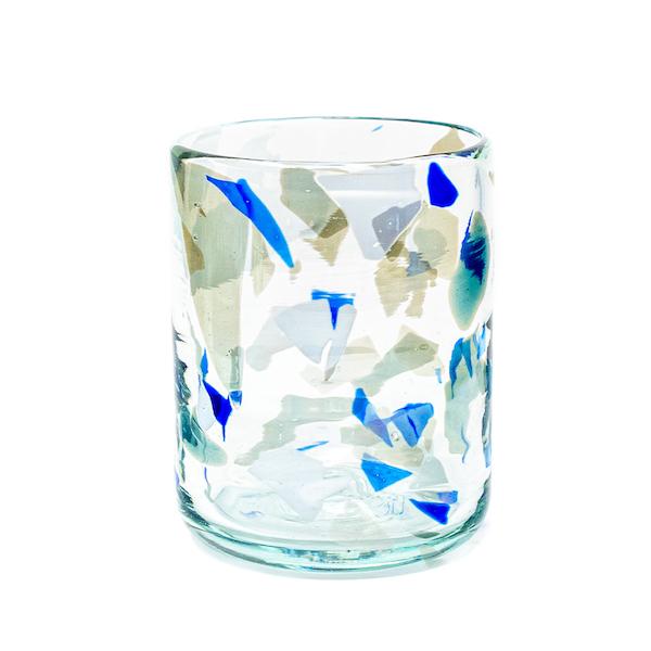 terrazzo blue glass - Vaso de Vidrio Terrazzo B