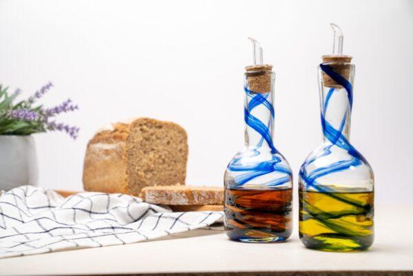 duo azul aceitera vinagrera lafiore glass 600x401 - Set Oil & Vinegar Cruet Blue